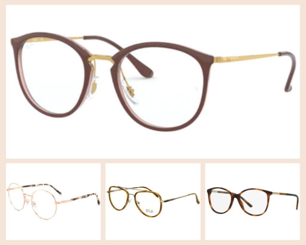 brazowe i zlote okulary